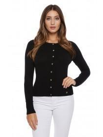 Jane Norman Black Ribbed Popper Front Cardigan