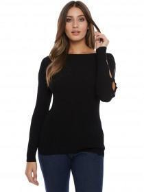 Jane Norman Black Ribbed Cut Out Sleeve Jumper