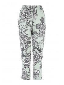 Womens Green Zip Detail Crepe Trousers