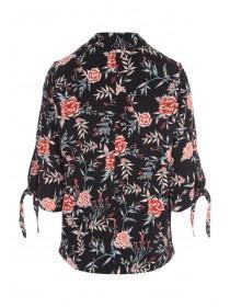 Womens Floral Tie Sleeve Jacket