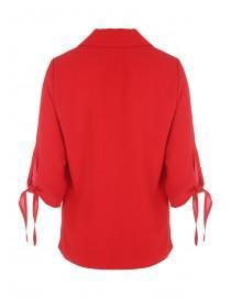 Womens Red Tie Sleeve Jacket