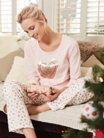 Womens Pink Glitter Heart Pyjama Set