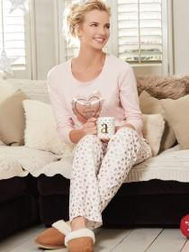 Womens Pink Slogan Pyjama Set