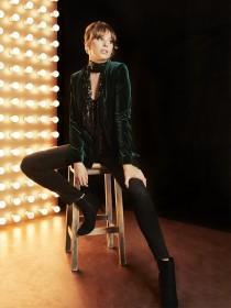 Womens Dark Green Velvet Blazer