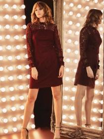 Womens Plum Ruffle Neck Lace Dress