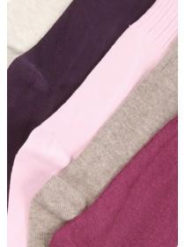 Womens 5PK Basic Purple Socks
