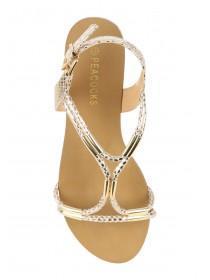 Womens Gold Spaghetti Strap Sandals
