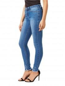 Jane Norman Mid Blue Frayed Hem Skinny Jeans