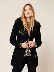 Womens Black Faux Fur Biker Coat