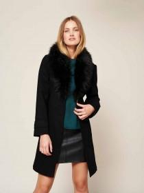 Womens Faux Fur Shawl Collar Coat