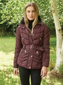 Womens Burgundy Padded Coat