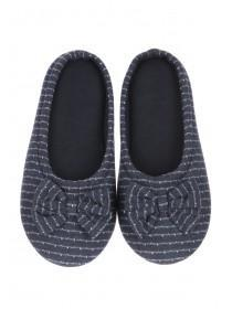Womens Navy Bow Mule Slippers