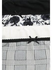 Womens 4PK Black Hi-Cut Printed Briefs