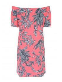 Womens Red Floral Bardot Dress