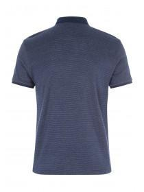 Mens Dark Blue Textured Polo Shirt