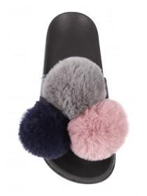 Womens Black Pom Pom Sliders