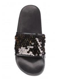 Womens Black Sequin Sliders