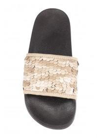 Womens Tan Sequin Sliders
