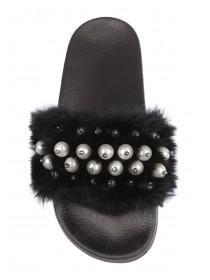 Womens Black Pearl Fluffy Sliders