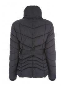 Womens Black Padded Belted Jacket