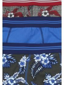 Mens 3PK Blue Floral Stretch Hipster Trunks