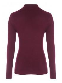 Womens Cherry Red Roll Neck Jumper