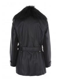 Womens Black PU Long Line Coat