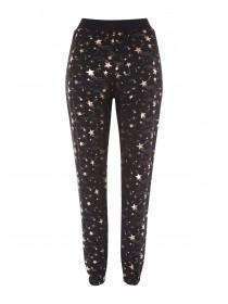 Womens Black Star Print Lounge Trousers