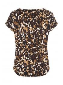 Womens Leopard Print Short Sleeved Soft Touch Top