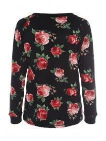 Womens Black Rose Print Lounge Top