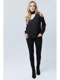 Jane Norman Black Cold Shoulder Blouse