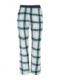 Mens Blue Fleece Check Pyjama Trousers