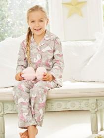 Girls Grey Unicorn Pyjama Set