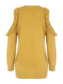 Womens Mustard Frill Sleeve Cold Shoulder Jumper