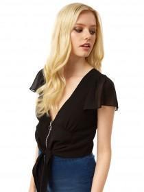 Jane Norman Black Angel Sleeve Zip Top