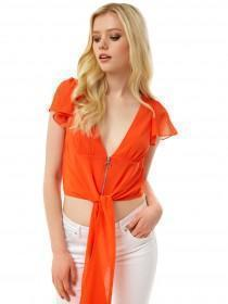 Jane Norman Orange Angel Sleeve Zip Top