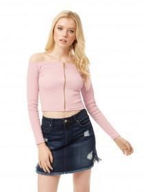 Jane Norman Pale Pink Zip-Up Rib Crop Top