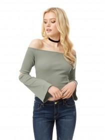 Jane Norman Khaki Split Sleeve Bardot Top