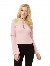 Jane Norman Pale Pink Split Sleeve Bardot Top