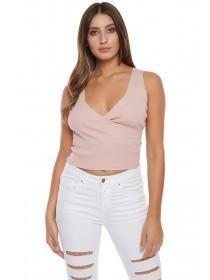 Jane Norman Pale Pink Rib Wrap Top