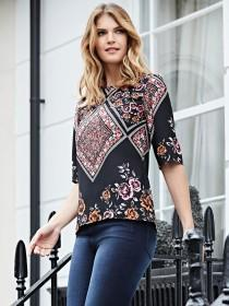 Womens Black Printed Top