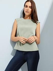 Womens Green Pleated Back Top