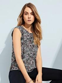 Womens Floral Pleated Back Top