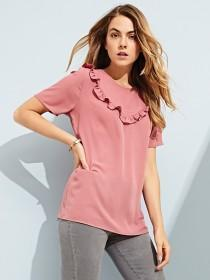 Womens Pink Ruffle Top