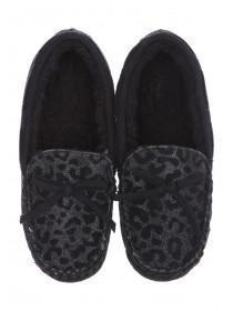 Womens Black Leopard Print Slippers