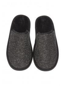 Womens Black Closed Toe Spa Slippers