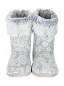 Womens Grey Slipper Boots