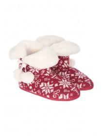 Womens Red Fairisle Slipper Boots
