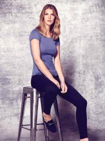 Womens Blue Short Sleeve Crew T-Shirt