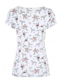 Womens White Floral Print Crew T-Shirt